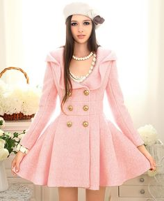 Elegant Lolita Pink Woolen Dress...  ( If you are looking for Pink Fashion then check out my board labeled as such... pin as much as you want..Medic)