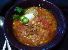 I just made this with my leftover carnitas. Delic!   -Sopa de Carnitas with Chipotle and Lime