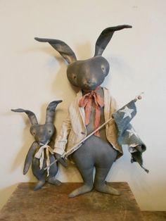 Primitive Americana Bunny Rabbit Dolls Early Spring | eBay