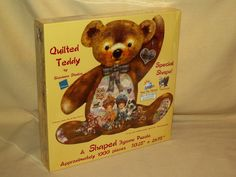 Teddy Bear Puzzle Quilted Shape Sunsout Giordano 95242 New 1000 Pc Antique Doll #SunsOut