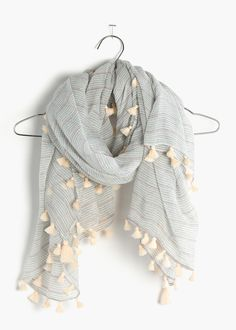 madewell striped + tasseled square scarf