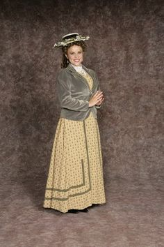 $30.00 Costume Rental  Anne Shirley  tan w/floral print skirt w/attached matching vest & lace blouse, jacket