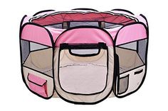 Dog Playpens - EXPAWLORER 35 Puppy Playpen Dog Exercise Kennel Cat Portable Foldable Pen for Small Pets With Carry Bag Pink -- Find out more about the great product at the image link. (This is an Amazon affiliate link)