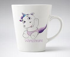 Loose Werbetechnik Kaffee Becher Konisch- Einhorn -Baby Einhorn Personalisiert mit Ihrem Wunsch - Spühlmaschinenfester - 375 ml Fassungsvermögen