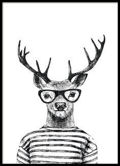 Posters met illustratie, zwart wit rendier | Koop mooie posters op internet