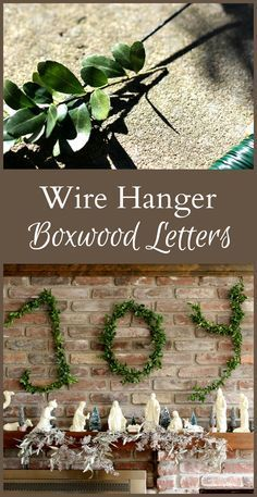 Learn how to make wire hanger boxwood letters that work great at Christmas or really any time of year, with simple materials and little time and effort. #diy #Christmas #crafts #decor