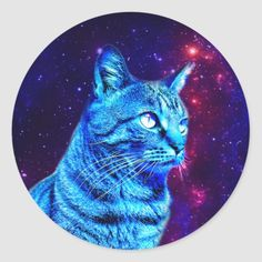 Shop Pretty Blue Galaxy Cat Stripey Space Kitty Fun Classic Round Sticker created by CatLoversCorner. Fun Galaxy, Galaxy Cat, Galaxy Space, Cat Stickers, Round Stickers, Cute Cats And Kittens, Cool Cats, Cute Cat Gif, Original Gifts