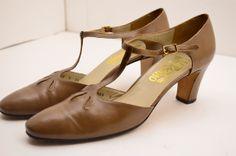1970s Ferragamo shoes / Vintage T straps / 70s by melsvanity, $68.00
