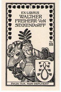 Art Nouveau Bookplate Ex Libris by German Bernhard Wenig, 1901 | eBay