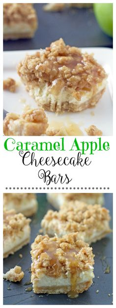 Caramel Apple Cheesecake Bars. . . a shortbread crust, a smooth cheesecake layer, finely chopped cinnamon apples and a sweet streusel topping.