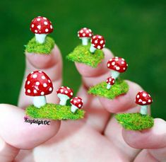 I'm not one for fancy nails, but this is hilarious :)   Toadstool Nail Art by ~KayleighOC on deviantART