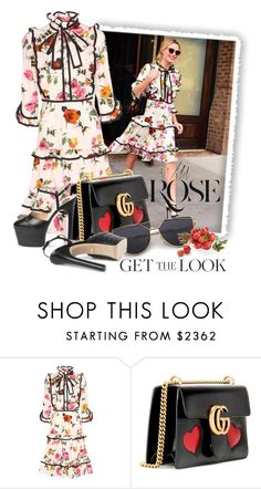 """""""Untitled #10077"""" by queenrachietemplateaddict ❤ liked on Polyvore featuring Gucci, Wild Rose, GetTheLook, platformpumps and floraldress"""