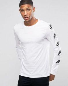 Nike - International - 803981-101 - T-shirt imprimé sur les manches - Blanc Asos, T Shirt, Nike, Long Sleeve, Sleeves, Mens Tops, Fashion, White People, Accessories