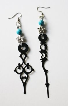 Steampunk Clock Hand Earrings - Turquoise Celestial Star