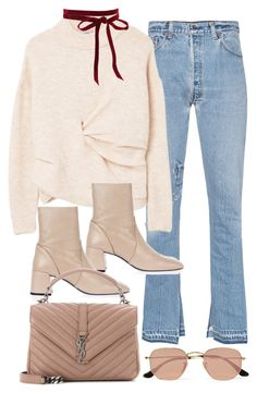 """Untitled #11259"" by minimalmanhattan ❤ liked on Polyvore featuring RE/DONE, MANGO, Topshop, Yves Saint Laurent and Ray-Ban"