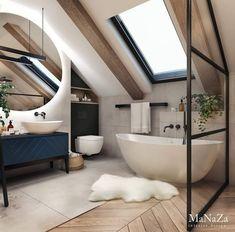 scandinavian bathroom Bathroom Inspiration // MaNaZa The Perfect Scandinavian Style Home Loft Bathroom, Modern Bathroom, Small Bathroom, Bathroom Flooring, Bathroom With Window, Minimalist Bathroom Design, Relaxing Bathroom, Minimal Bathroom, Bathroom Mirrors