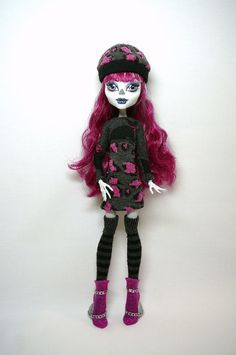 Monster High Doll Clothes - Doll Dress, Beret  Thigh High Stockings  original fashions by mizzfitzdolls