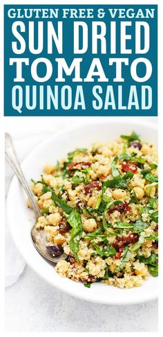 Sun Dried Tomato Quinoa Salad - This mediterranean quinoa salad has such beautiful flavors. It's perfect for meal prep or easy lunches throughout the week. (Gluten Free & Vegan)