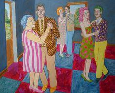 baile de pueblo- acrilico- 80 x 100