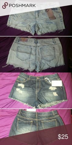 High Waisted Shorts Bundle Both NWT! Light Blue is size 13. Dark blue is size 13/14.  No trades.  Don't ask for my lowest price. If you're seriously interested, make an offer! DON'T MAKE AN OFFER IF YOU DON'T INTEND ON PURCHASING!!!! Shorts