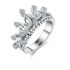 Crown Diamond Engagement Ring ($79) ❤ liked on Polyvore featuring jewelry, rings, crown ring, diamond jewelry, diamond jewellery, crown jewelry and engagement rings