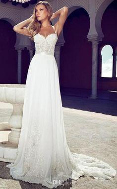 Summer Julie Vino Wedding Dresses 2014 Romantic Sweetheart Spaghetti Straps With Ribbons White Lace Garden Bridal Wedding Dress Corset Beach