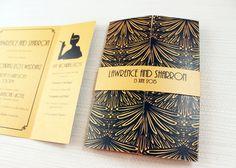 Gold and Black Art-Deco Gatefold Wedding Invite