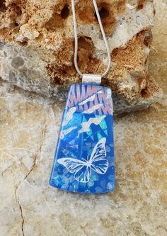 Butterfly Pendant Summer Jewelry Blue Dichroic Pendant by GlassCat