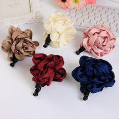 Silky Ribbon Flower Black Plastic Long Clip with Teeth Headwear Hair Accessories for Women Hair Clips on http://ali.pub/paz4k