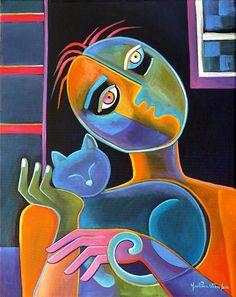 Modern Cubism Original peinture à l'huile sur toile vente d'oeuvre Marlina Vera Fine Art Gallery Style de Picasso pour le Pop Art amoureux des chats