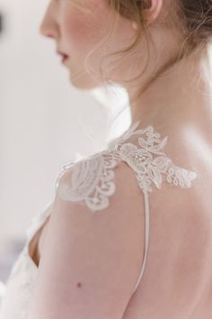 Lace details on Rosemary wedding dress from Romantique by Claire Pettibone
