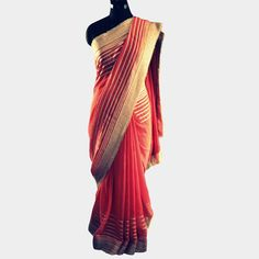 Carrot pink Georgette saree