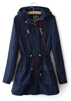 Blue Drawstring Zipper Wrap Cotton Blend Trench Coat $54