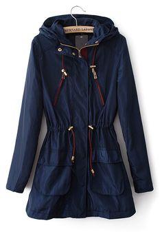 Blue Drawstring Zipper Wrap Cotton Blend Trench Coat