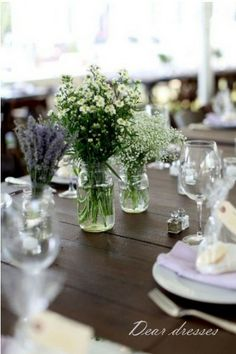 Easy small flowers in jam jars - maybe aromatics like lavender and rosemary