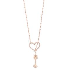 Cubic Zirconia & Rose Gold Heart Arrow Pendant Necklace