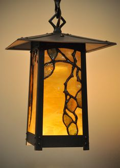 Arts & Crafts   Bungalow   Birch leaded glass inserts for an Old California Lantern - by Theodore Ellison Designs