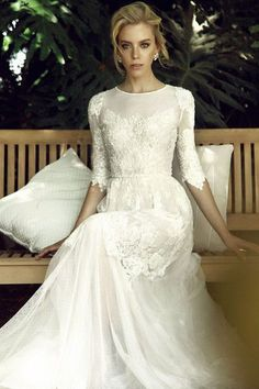 Elbow length sleeves for a wedding dress fall right on the elbow if not a little bit farther down. These sleeves will always cover about half of the arm and look super chic.
