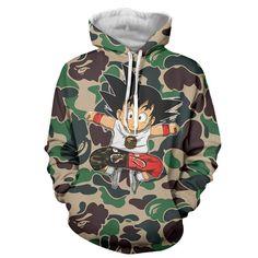 Cute Jumping Kid Goku Cameo Camouflage Streetwear Hoodie. Cute #Jumping #KidGoku #Cameo #Camouflage #Streetwear #Hoodie