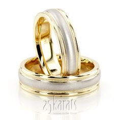 Two Tone His & Hers Wedding Ring Set / Style Number : HH-TT211