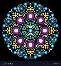 Mandala bohemian vector dot painting, aboriginal dot art, retro folk design inspired by traditional art from australia. Abstract mandala with dots, circles inspired by australian folk art, geometric Mandala Art, Mandalas Painting, Mandala Canvas, Mandalas Drawing, Mandala Pattern, Mandala Design, Dot Painting Aboriginal, Dot Art Painting, Mandala Painted Rocks