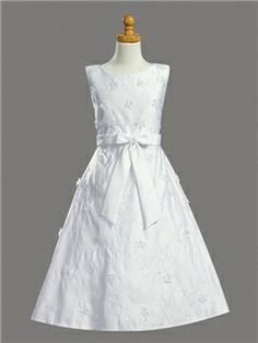 Gorgeous A-line Appliques & Bowknot White Flower Girl Dress