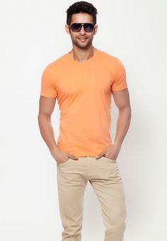 Short Sleeves Solid Orange crew Neck T Shirt  Price : Rs.399