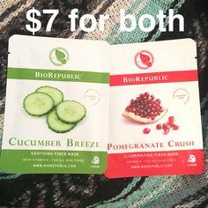 BioRepublic Soothing Fiber Mask in Cucumber Breeze & Illuminating Fiber Mask in Pomegranate Crush