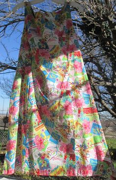 Vintage Dress 60s Hawaiian Print Cotton Shift Fit n by WeeBitUsed  #vintage #vintagedress #hawaiianDress #VLV