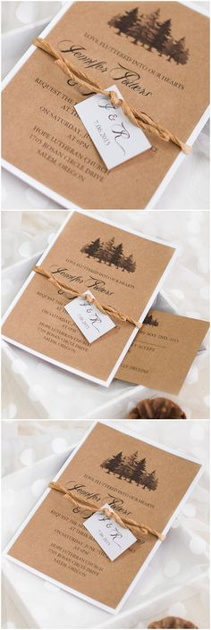 country rustic wedding invitations with trees printed on