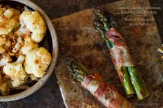 Lemon Roasted Asparagus Wrapped in Bacon AND Roasted Cauliflower
