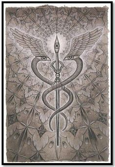 The CADUCEUS, universal medical symbol. It is also the staff of HERMES and (Tut)moses. This symbol represents the awakened KUNDALINI also known as the DIVINE SERPENT or NAGA.