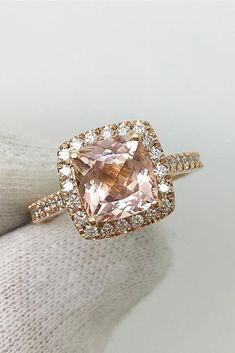 30 Morganite Engagement Rings We Are Obsessed With ❤️ morganite engagement rings halo cushion cut rose gold ❤️ See more: http://www.weddingforward.com/morganite-engagement-rings/ #weddingforward #wedding #bride #engagementrings #morganiteengagementrings