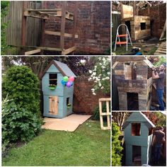 DIY pallet play house for my daughter. Only took 9 decent pallets to get this. Cost about £60 for some extras such as the paint, nails, and some sturdy timber for the main supports. Little one absolutely loves it!